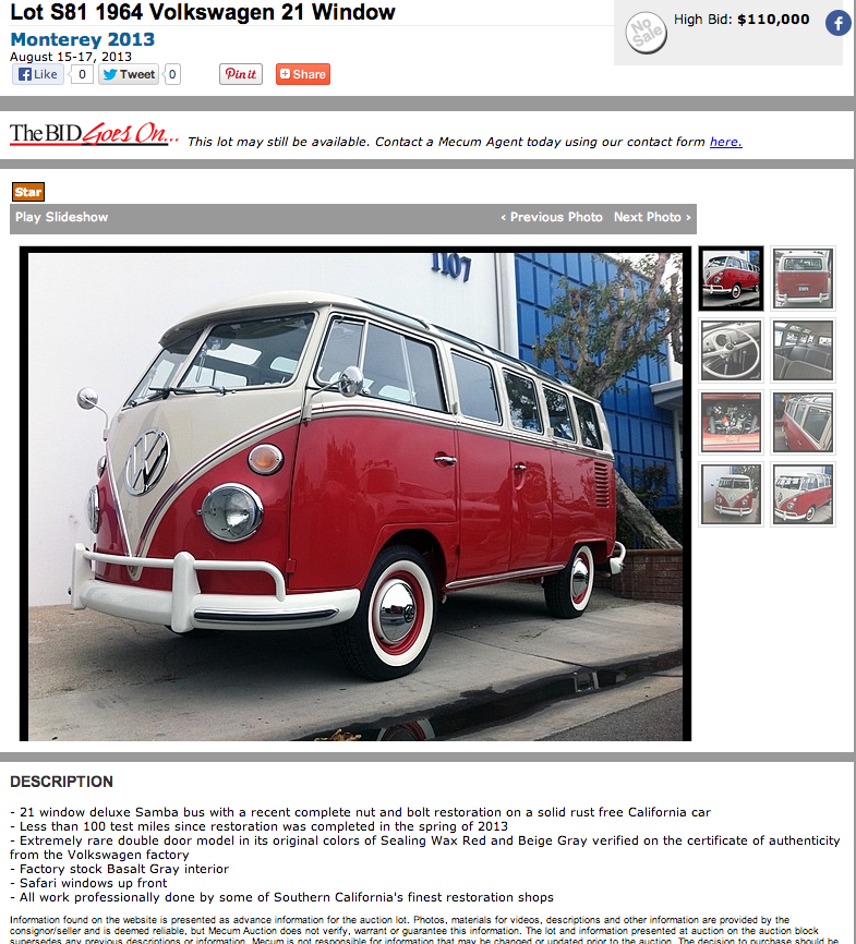 Day 3 mecum auction results mint2me for 18 window vw bus